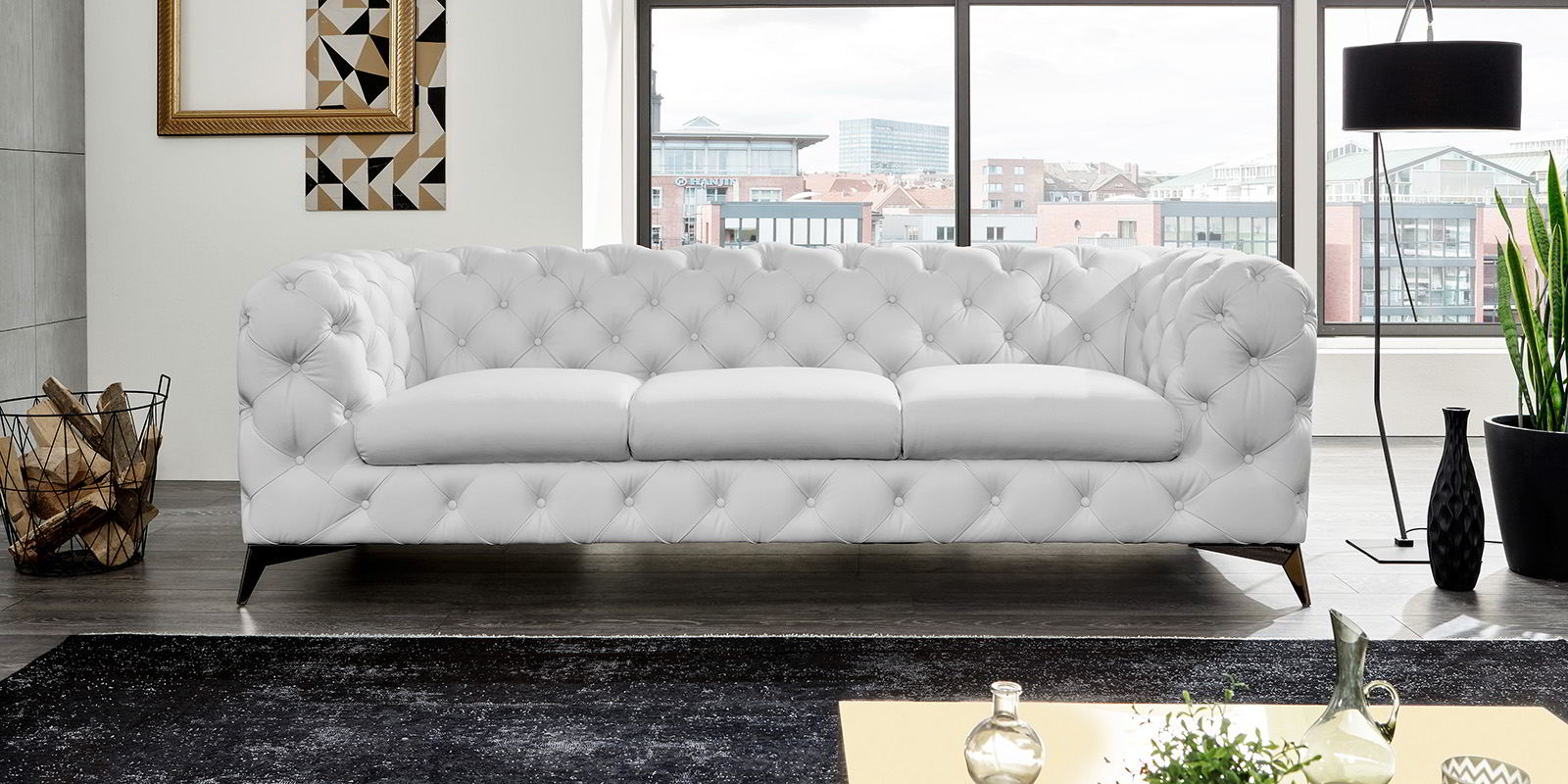 3 Sitzer Chesterfield Ledersofa Big Emma fort2Home