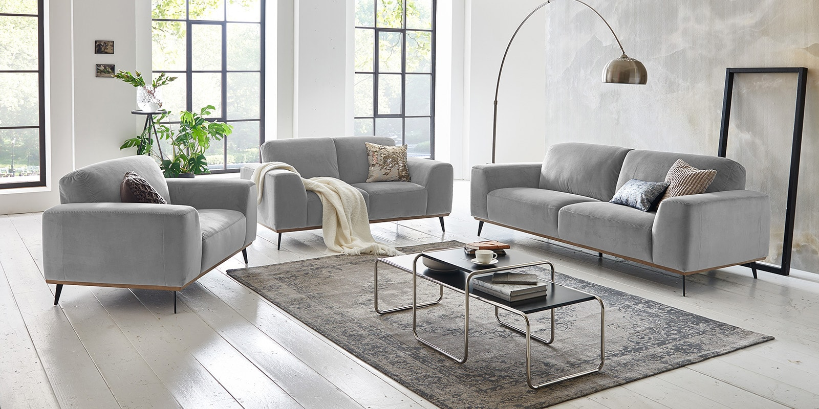 3-Sitzer Couch Samt Barcelona